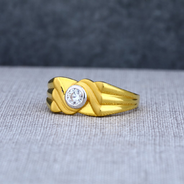 Mens 916 Plain Fancy Solitaire Gold Ring-MSR11