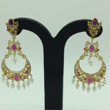 White and Red CZ Stones Ear Chand BaliJER0027