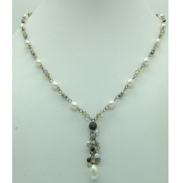 Freshwater White Pearls Silver Chain Necklace JNC0...