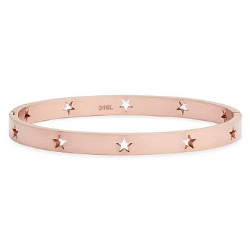 18kt rose gold machine cut star unisex bracelet jkb016