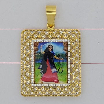 916 gold fancy gent's mogal maa photo frame pendant