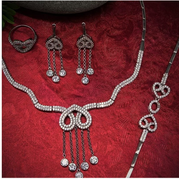 silver traditional ladies necklace set RH-NS932