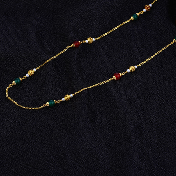 Ladies 916 Gold Colourful Stone Moti Delicate Mala-AC125