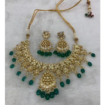 Imitation Green Stone Necklace Set For Wedding by