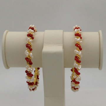 White Flat Pearls And Corals Baldar Bangles JBG006...
