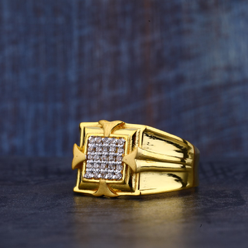 Mens Fancy Cz Gold Ring-MR364