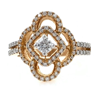 18kt / 750 rose gold micro set diamond ladies ring...