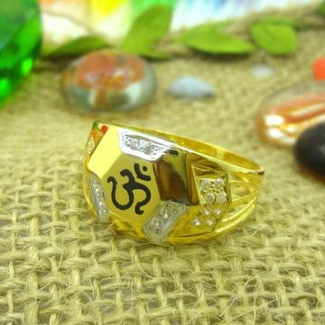 916 gold cz diamond om design gents ring by