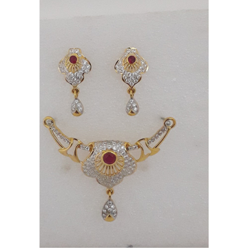22KT Gold CZ Pink Stone Mangalsutra Pendant Set MJ-PS006 by M.J. Ornaments