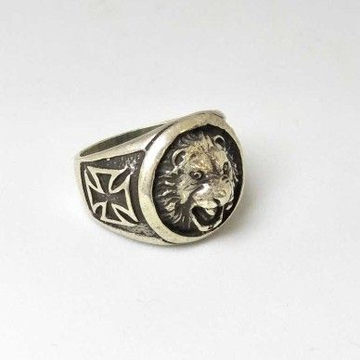 925 Sterling Silver Oxides Lion Gents Ring
