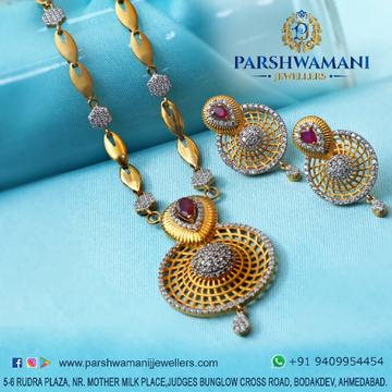 22Kt Gold Round Shape Cz Fancy  Necklace set for Women