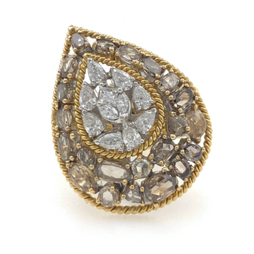 18kt / 750 yellow gold fancy cocktail ladies ring 5lr572