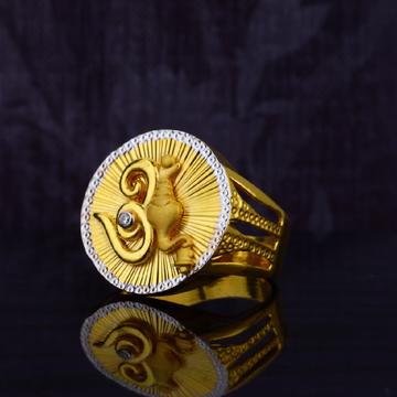 Mens 916 Desinger Om Ganpati Gold Ring-MGR03