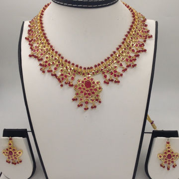 Red CZ Stones Guttapusal Necklace Haar Set JNC0030