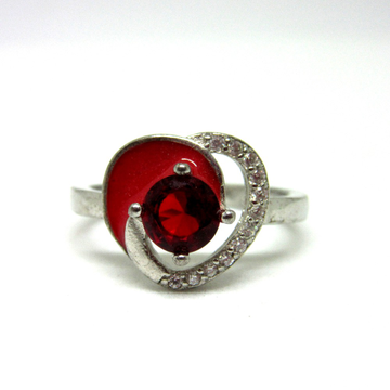 Silver 925 red stone + meena heart shape ring sr925-51