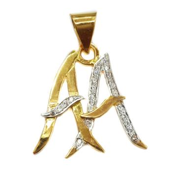 22k gold double aa monogram pendant mga - mgp006