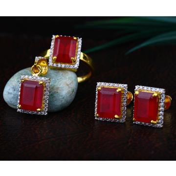 916 Gold Ruby Stone Pendant Set RJ-PS01