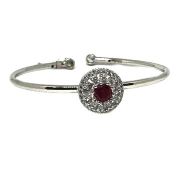 925 sterling silver red stone round shape kada bracelet mga - krs0036