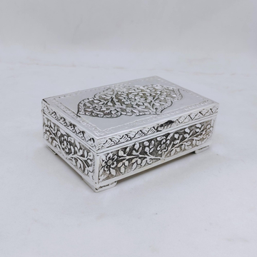 hallmarked Silver Box for Gifting In Antique Flora...