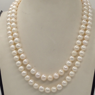 Freshwater White Round Graded Pearls 2 Layers Neck...