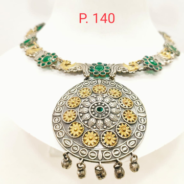 Oxidised silver with gold plated flower work choker necklace set 1663