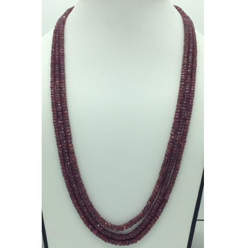 Natural Red RubyRound Faceted3Layers Necklace J...