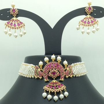 Red CZ and Pearls Choker Set With Seed Jali Pearls...