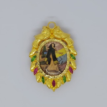 916 Gold Fancy Photo Fram Pendant