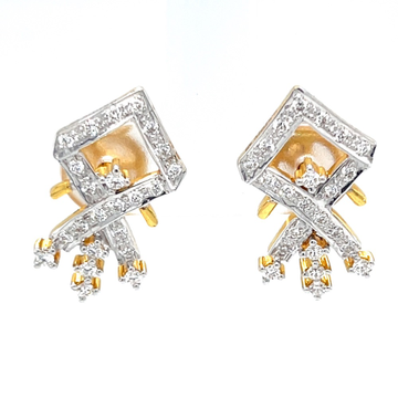 Kite shaped 18 karat hallmarked diamond earrings pair 6top90