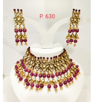 Double handing dark pink color moti with kundan choker necklace set 1260
