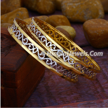 916 Gold Modern Double Pipe Copper Kadali Bangle HJ-5821