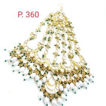 stylish bridal gold plated  kundan mang tikka with hanging beads 1633
