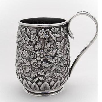 Puran Sterling Silver Deep Floral Carving Beer Mug...