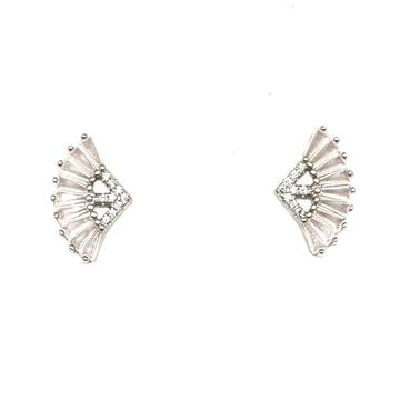 925 Sterling Silver Light Pink Diamond Earring MGA - BTS0092