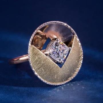 916 Gold Spra Dull Singal Stone Ladies Ring RH-SLR045