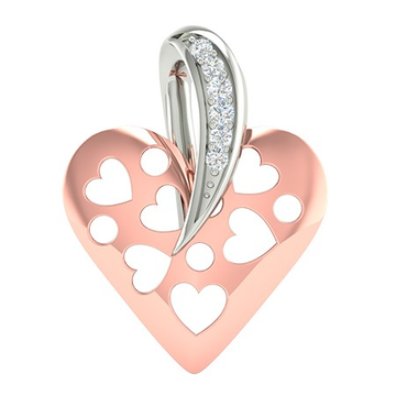 18k rose gold white gold real diamond heart shape pendant mga -  rp0032