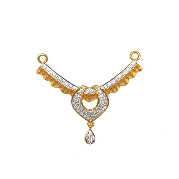 22K Gold Designer Cz Diamond Mangalsutra Pendant MGA - MPG0011