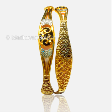 22K Fancy Enamel Gold Bangles 2 Pieces