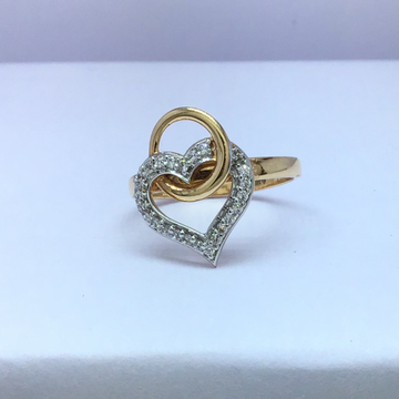 heart designing fancy ladies rose gold ring