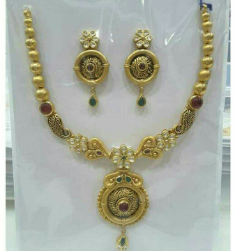 916 Gold Ladies Antique Jadtar Necklace Set