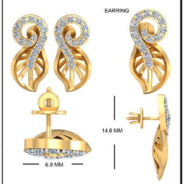 22KT Yellow Gold Peacock Vivacity Earrings For Women