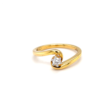 Single diamond engagement ring with cross band in...
