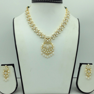 Freshwater White Button Pearls Necklace Set JNC016...