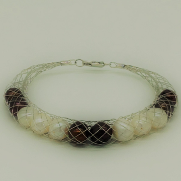 White and brown potato pearls wire mesh bracelet j...