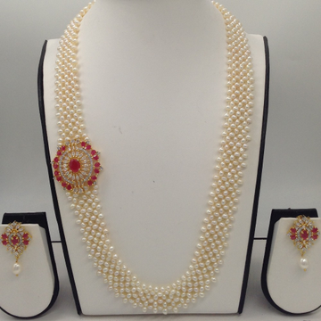 """White And RedCZ BroachSet With Seed""""U"""" Jali Pearls Mala JPS0372"""