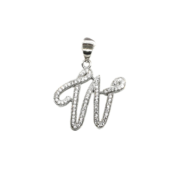 925 Sterling Silver Alphabet (Letter W) Pendant MGA - PDS0008