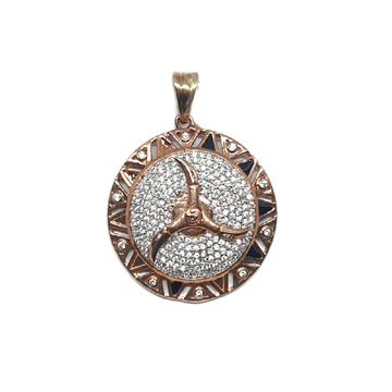 925 Sterling Silver Round Shaped Mercedes Pendant MGA - PDS0062