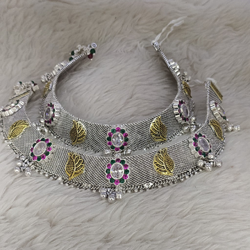 silver Antic payal by