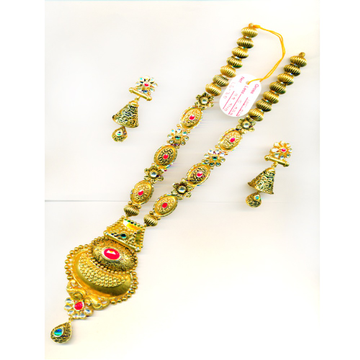 916 Gold Heavy Bridal Long Necklace Set-28