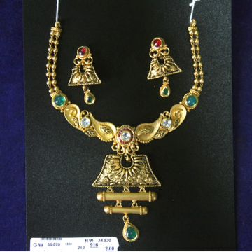 916 Gold Antique Wedding Necklace Set SRN-N003